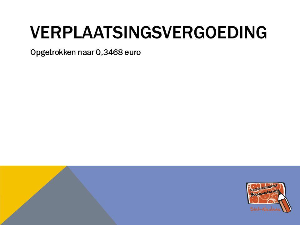 VERPLAATSINGSVERGOEDING Opgetrokken naar 0,3468 euro