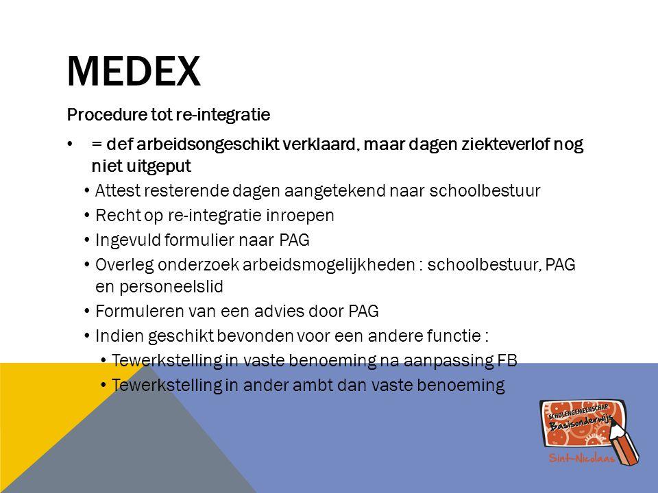 MEDEX Procedure tot re-integratie = def arbeidsongeschikt verklaard, maar dagen ziekteverlof nog niet uitgeput Attest resterende dagen aangetekend naa