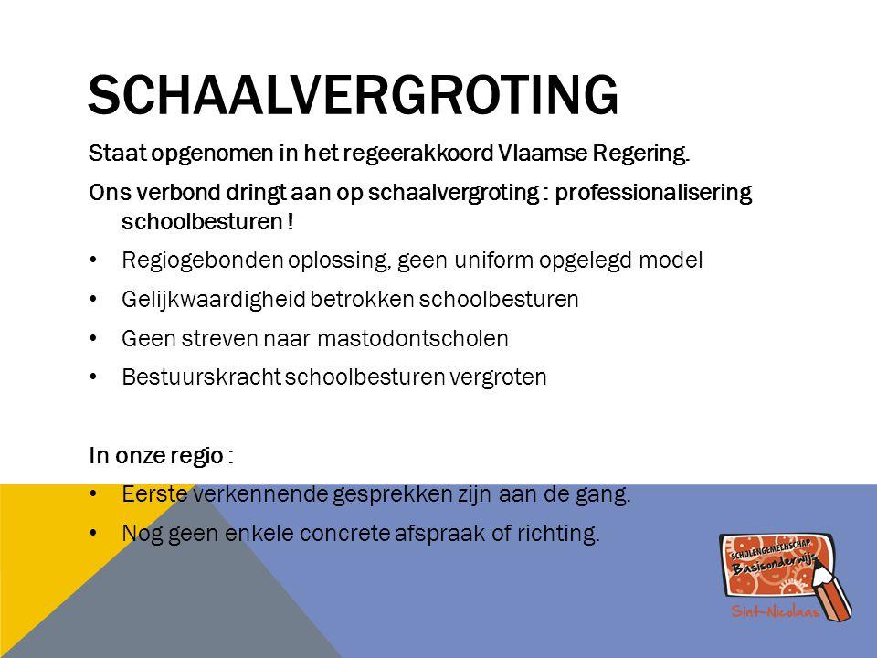 SCHAALVERGROTING Staat opgenomen in het regeerakkoord Vlaamse Regering. Ons verbond dringt aan op schaalvergroting : professionalisering schoolbesture