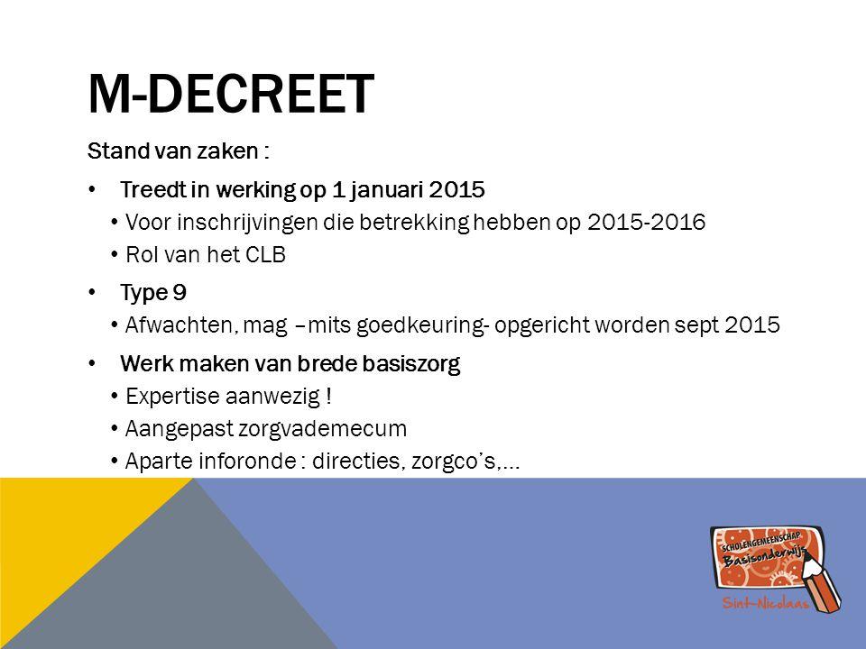 M-DECREET Stand van zaken : Treedt in werking op 1 januari 2015 Voor inschrijvingen die betrekking hebben op 2015-2016 Rol van het CLB Type 9 Afwachte