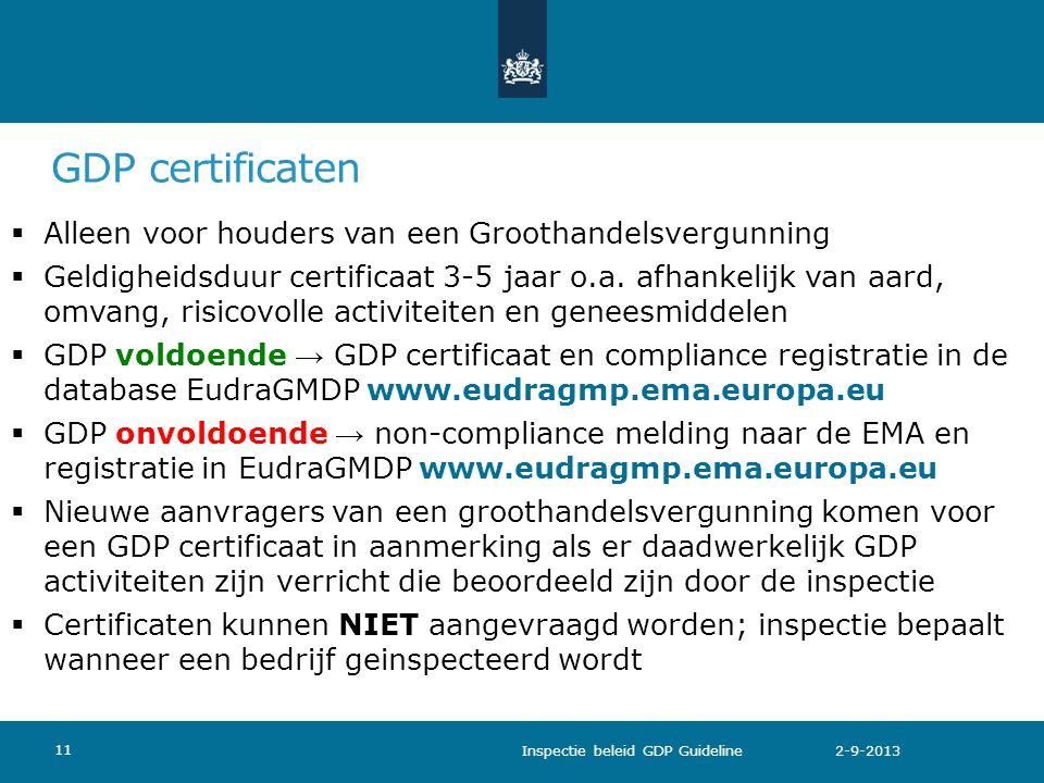 GDP certificaten  Alleen voor houders van een Groothandelsvergunning  Geldigheidsduur certificaat 3-5 jaar o.a. afhankelijk van aard, omvang, risico