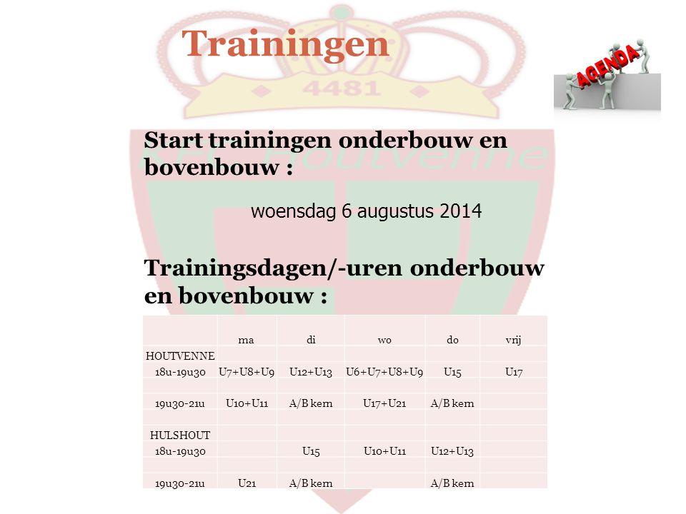 Trainingen madiwodovrij HOUTVENNE 18u-19u30U7+U8+U9U12+U13U6+U7+U8+U9U15U17 19u30-21uU10+U11A/B kernU17+U21A/B kern HULSHOUT 18u-19u30 U15U10+U11U12+U