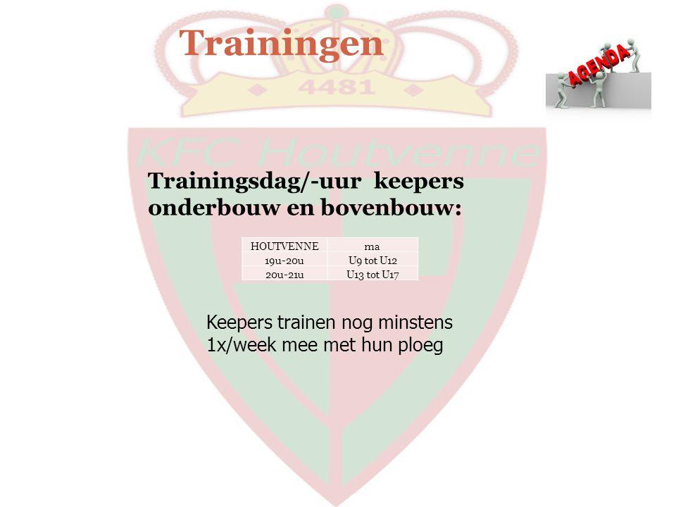 Trainingen HOUTVENNEma 19u-20uU9 tot U12 20u-21uU13 tot U17 Trainingsdag/-uur keepers onderbouw en bovenbouw: Keepers trainen nog minstens 1x/week mee
