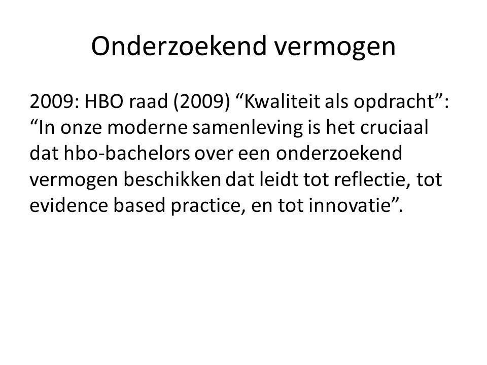 """Onderzoekend vermogen 2009: HBO raad (2009) """"Kwaliteit als opdracht"""": """"In onze moderne samenleving is het cruciaal dat hbo-bachelors over een onderzoe"""