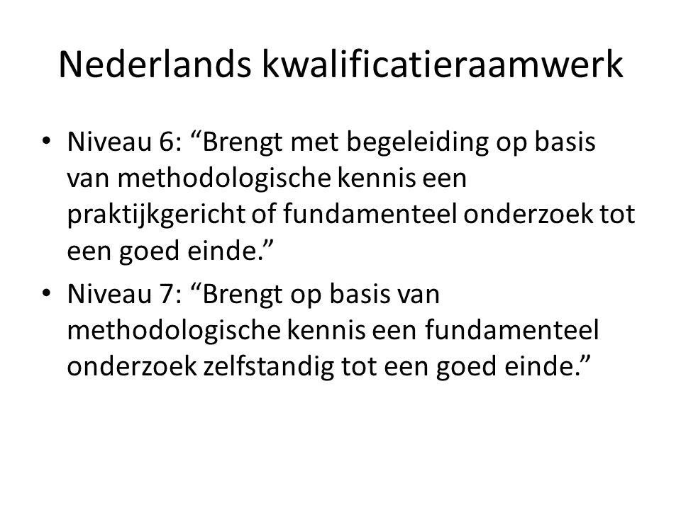 """Nederlands kwalificatieraamwerk Niveau 6: """"Brengt met begeleiding op basis van methodologische kennis een praktijkgericht of fundamenteel onderzoek to"""
