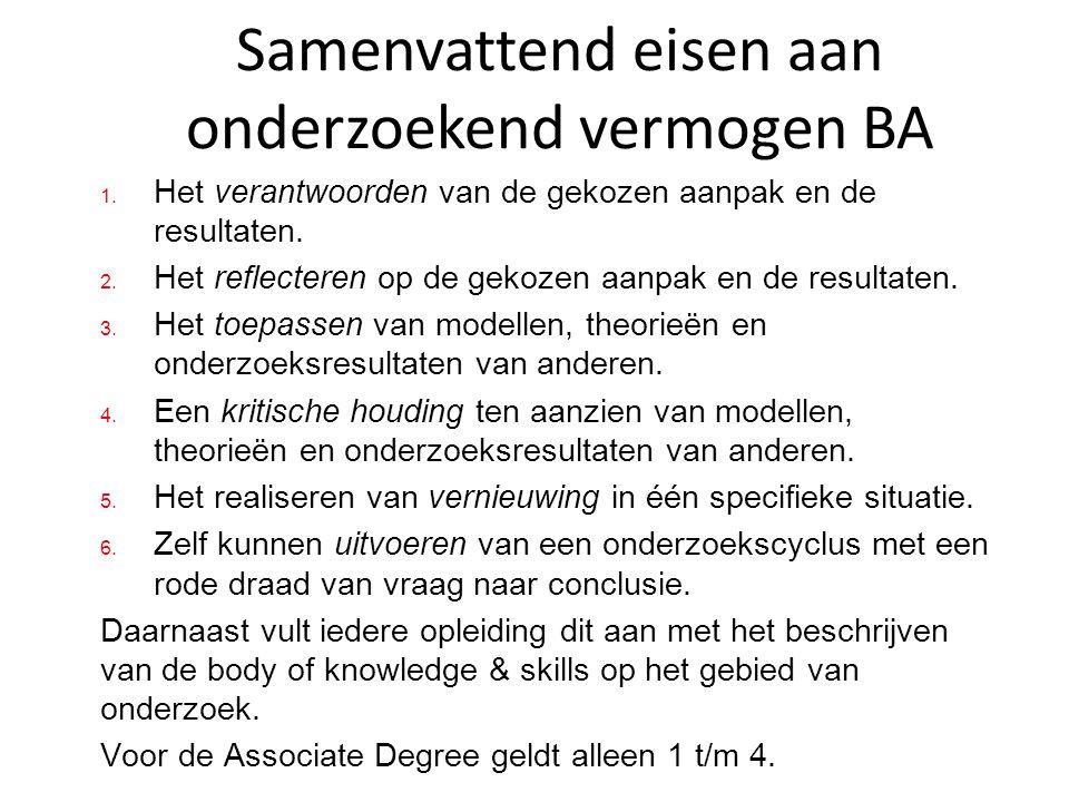 Samenvattend eisen aan onderzoekend vermogen BA 1. Het verantwoorden van de gekozen aanpak en de resultaten. 2. Het reflecteren op de gekozen aanpak e