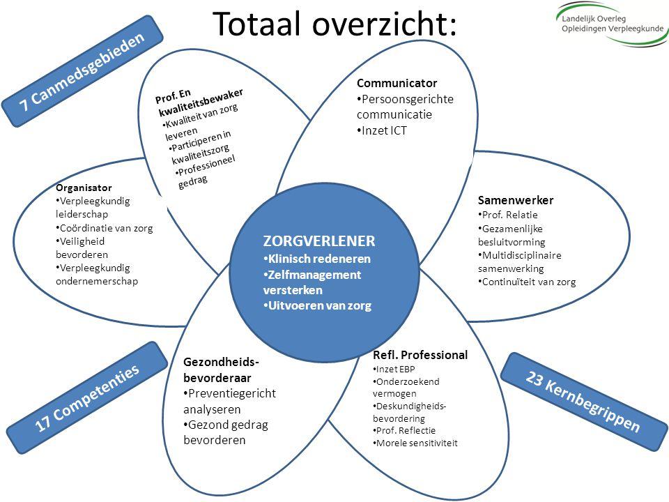 Totaal overzicht: ZORGVERLENER Klinisch redeneren Zelfmanagement versterken Uitvoeren van zorg Organisator Verpleegkundig leiderschap Coördinatie van