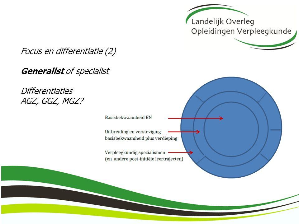 Focus en differentiatie (2) Generalist of specialist Differentiaties AGZ, GGZ, MGZ?