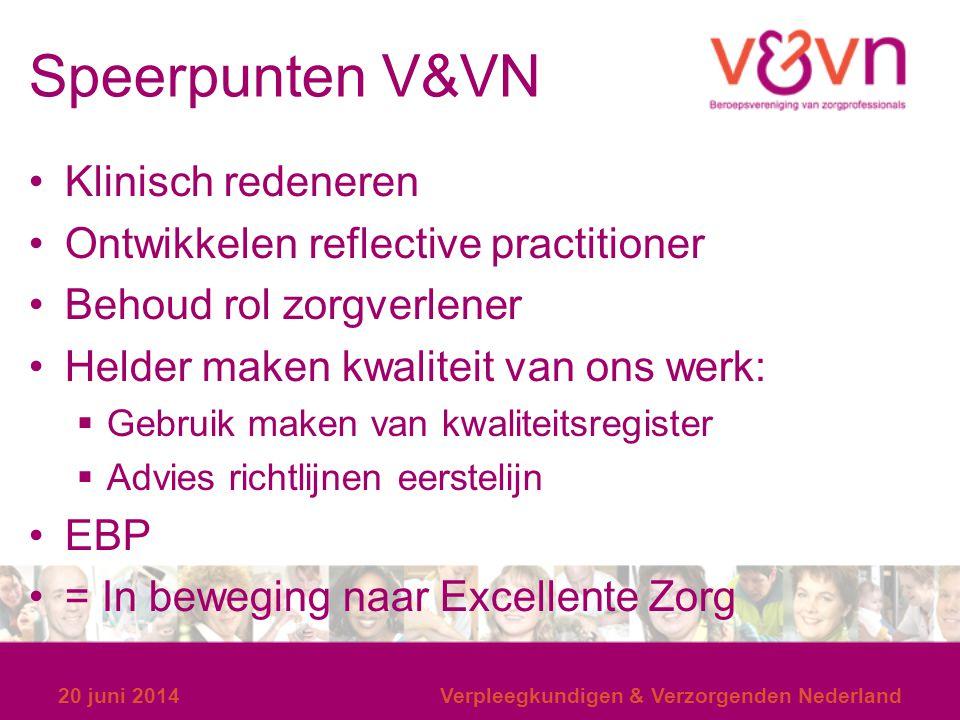 Speerpunten V&VN Klinisch redeneren Ontwikkelen reflective practitioner Behoud rol zorgverlener Helder maken kwaliteit van ons werk:  Gebruik maken v