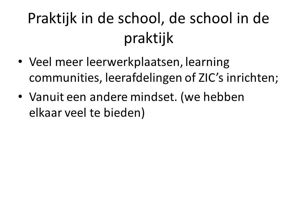 Praktijk in de school, de school in de praktijk Veel meer leerwerkplaatsen, learning communities, leerafdelingen of ZIC's inrichten; Vanuit een andere