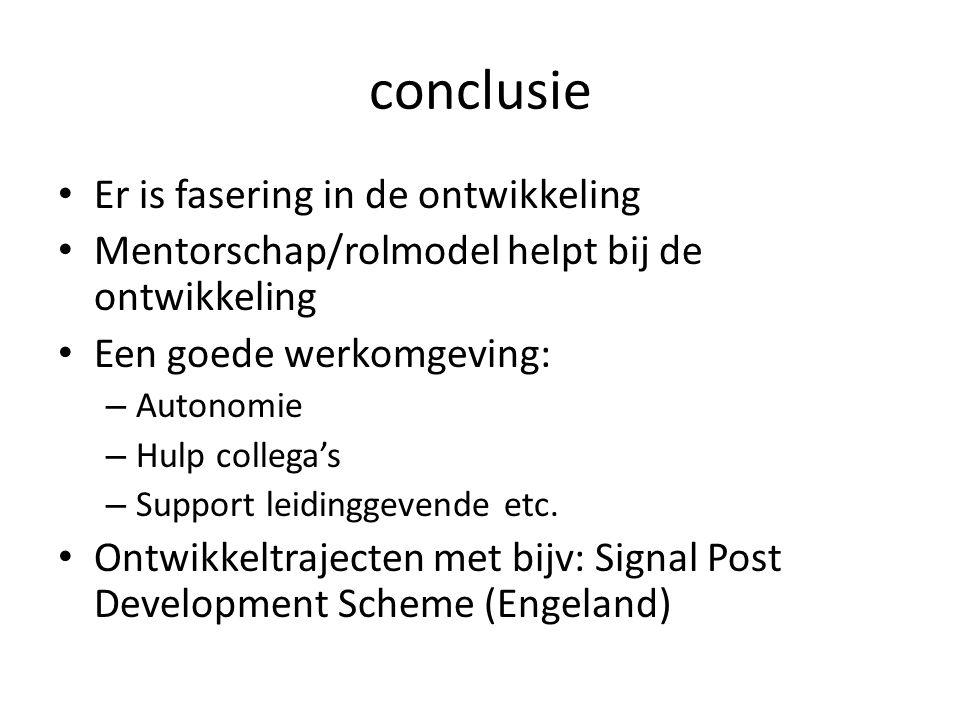 conclusie Er is fasering in de ontwikkeling Mentorschap/rolmodel helpt bij de ontwikkeling Een goede werkomgeving: – Autonomie – Hulp collega's – Supp