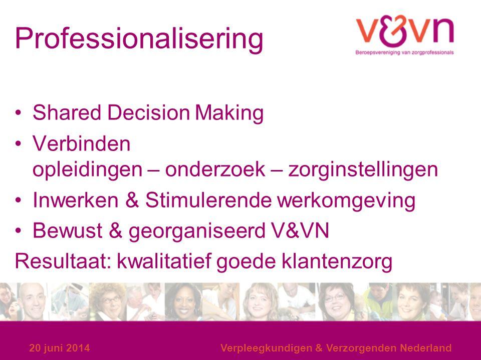 Professionalisering Shared Decision Making Verbinden opleidingen – onderzoek – zorginstellingen Inwerken & Stimulerende werkomgeving Bewust & georgani