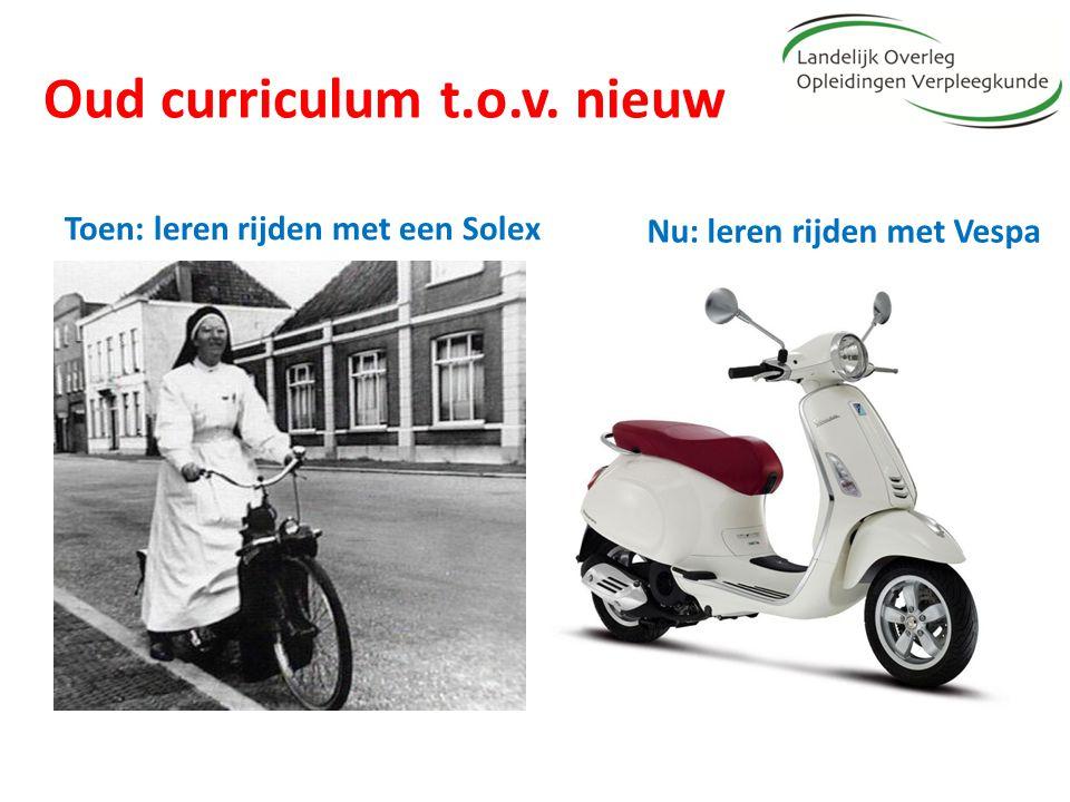 Oud curriculum t.o.v. nieuw Toen: leren rijden met een Solex Nu: leren rijden met Vespa
