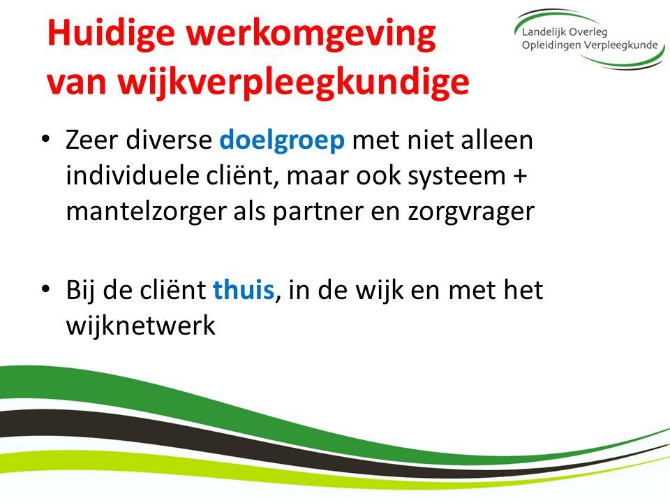 Huidige werkomgeving van wijkverpleegkundige Zeer diverse doelgroep met niet alleen individuele cliënt, maar ook systeem + mantelzorger als partner en