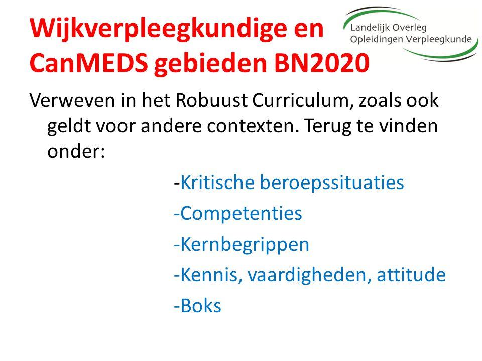 Wijkverpleegkundige en CanMEDS gebieden BN2020 Verweven in het Robuust Curriculum, zoals ook geldt voor andere contexten. Terug te vinden onder: -Krit