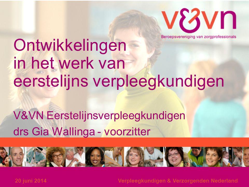 20 juni 2014Verpleegkundigen & Verzorgenden Nederland Ontwikkelingen in het werk van eerstelijns verpleegkundigen V&VN Eerstelijnsverpleegkundigen drs