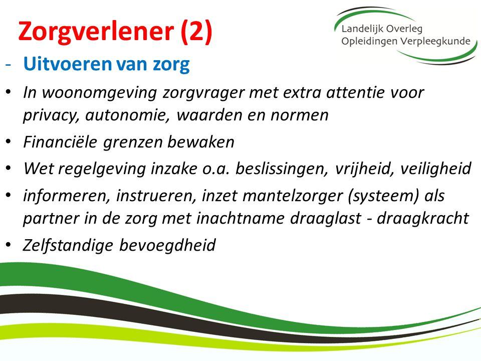 Zorgverlener (2) -Uitvoeren van zorg In woonomgeving zorgvrager met extra attentie voor privacy, autonomie, waarden en normen Financiële grenzen bewak