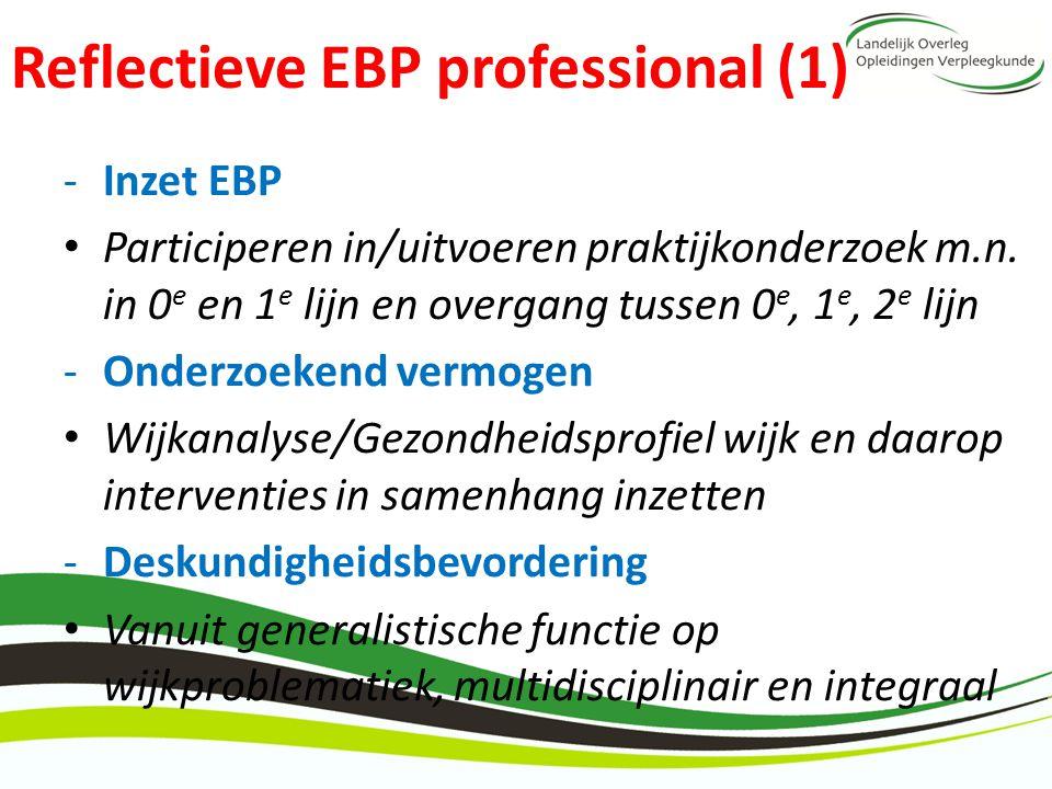 Reflectieve EBP professional (1) -Inzet EBP Participeren in/uitvoeren praktijkonderzoek m.n. in 0 e en 1 e lijn en overgang tussen 0 e, 1 e, 2 e lijn