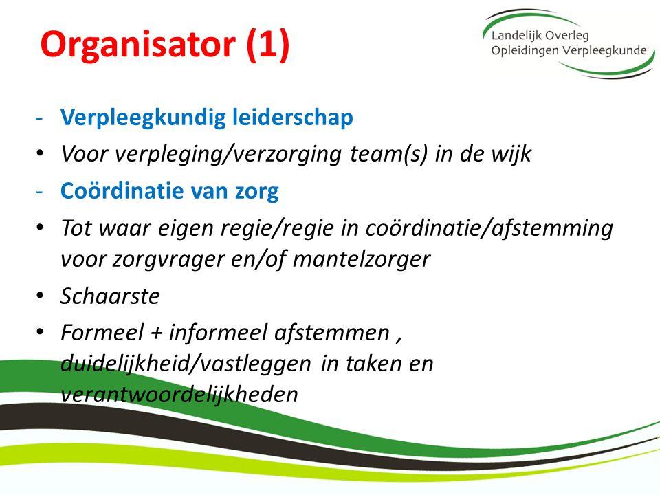 Organisator (1) -Verpleegkundig leiderschap Voor verpleging/verzorging team(s) in de wijk -Coördinatie van zorg Tot waar eigen regie/regie in coördina