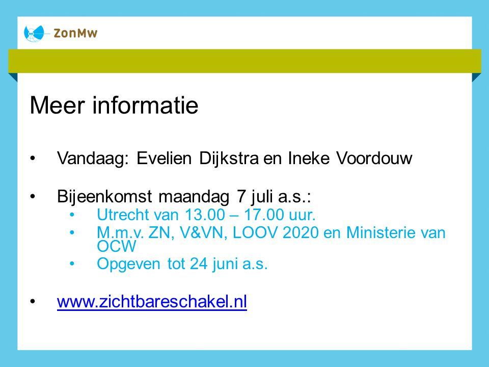 Meer informatie Vandaag: Evelien Dijkstra en Ineke Voordouw Bijeenkomst maandag 7 juli a.s.: Utrecht van 13.00 – 17.00 uur. M.m.v. ZN, V&VN, LOOV 2020