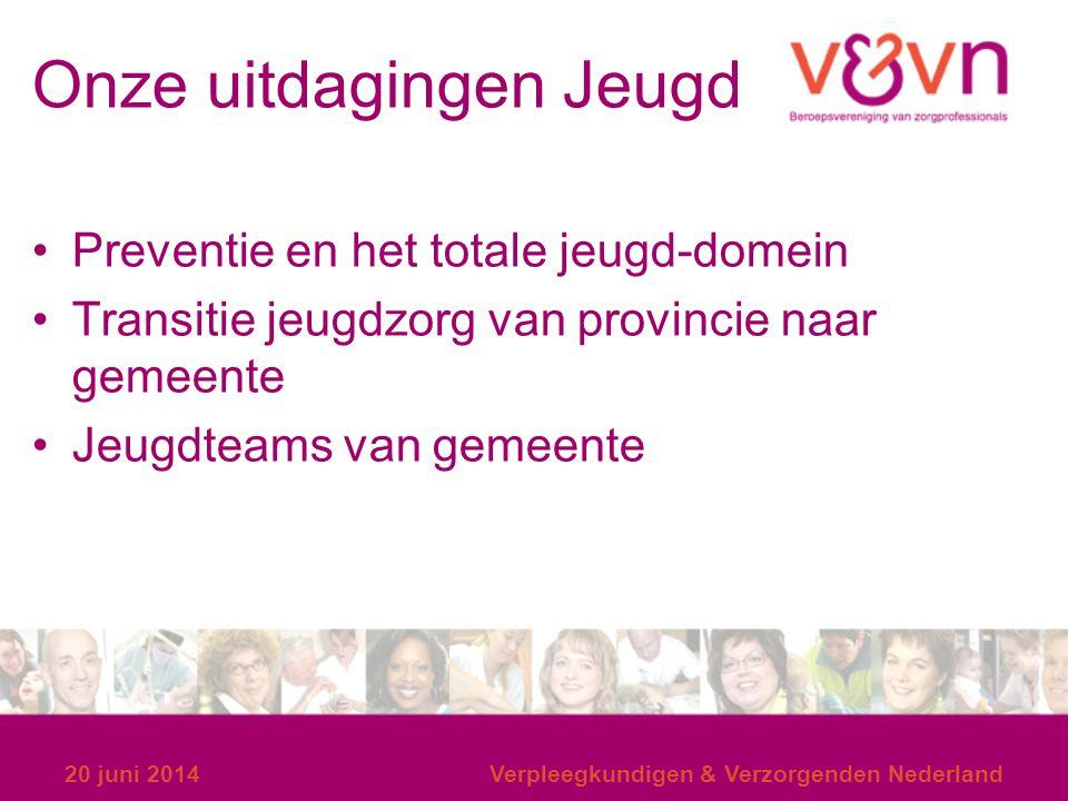 Onze uitdagingen Jeugd Preventie en het totale jeugd-domein Transitie jeugdzorg van provincie naar gemeente Jeugdteams van gemeente 20 juni 2014Verple