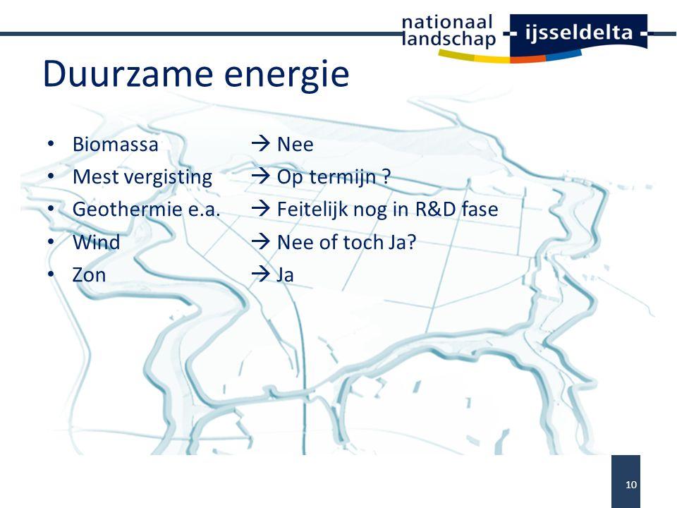 Duurzame energie Biomassa  Nee Mest vergisting  Op termijn .