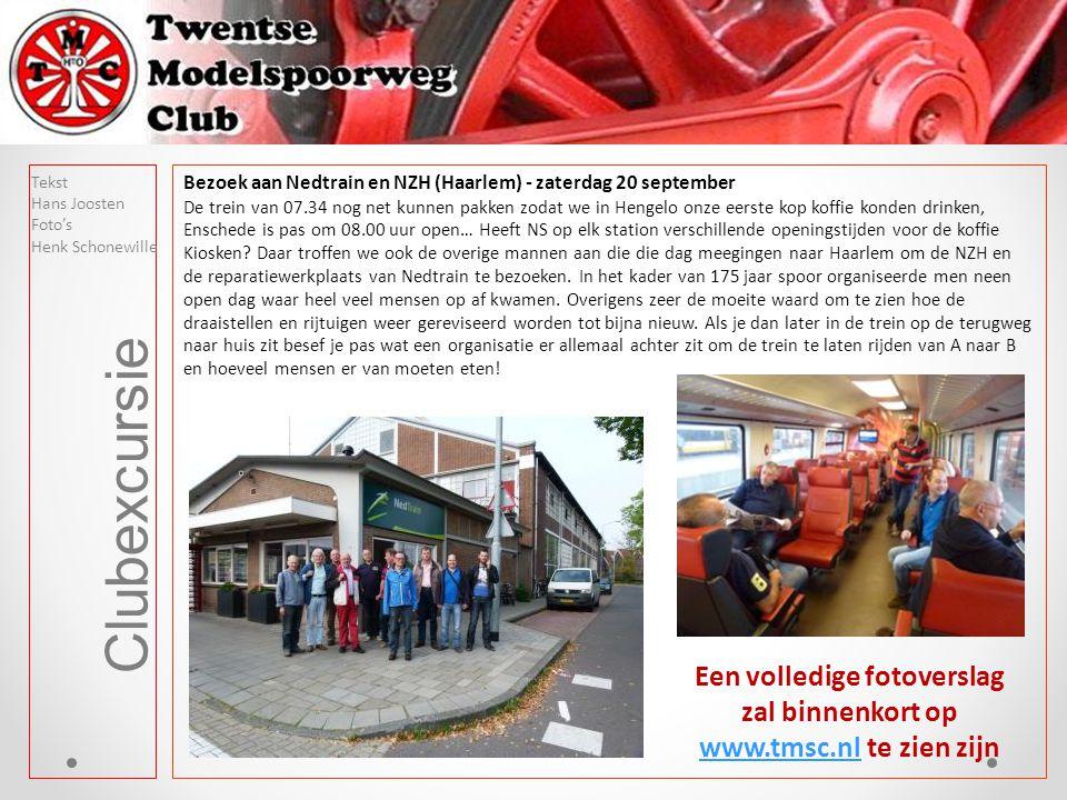 Clubexcursie Bezoek aan Nedtrain en NZH (Haarlem) - zaterdag 20 september De trein van 07.34 nog net kunnen pakken zodat we in Hengelo onze eerste kop