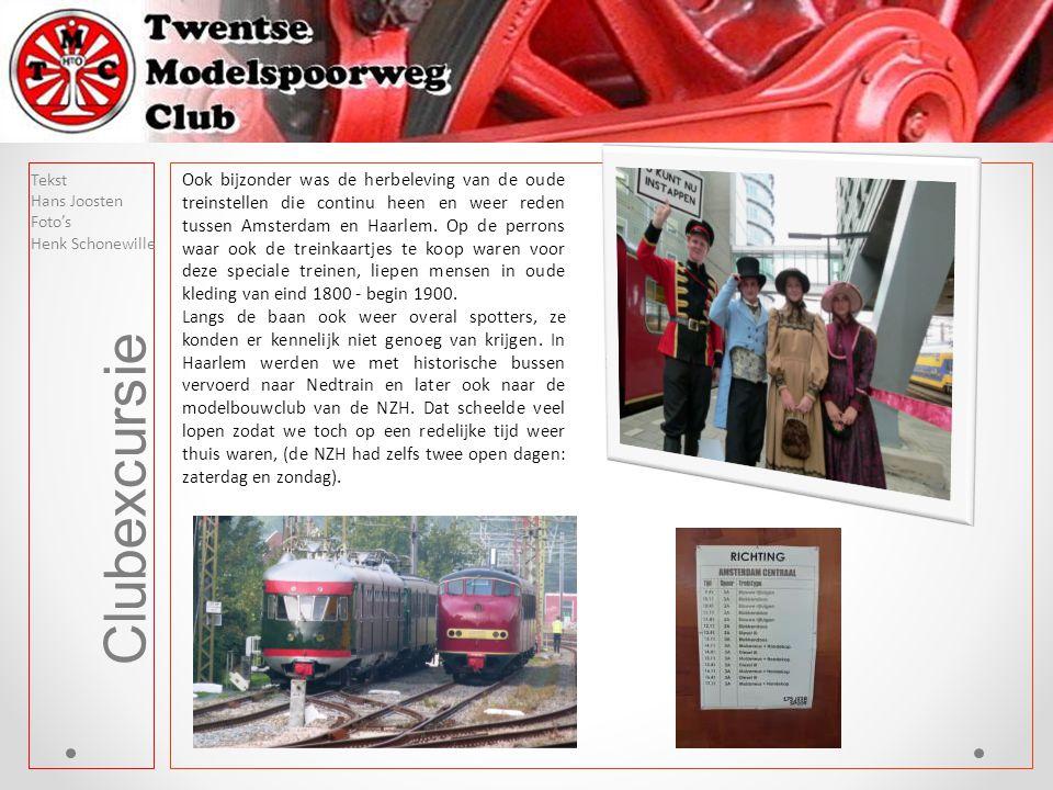 Clubexcursie Ook bijzonder was de herbeleving van de oude treinstellen die continu heen en weer reden tussen Amsterdam en Haarlem. Op de perrons waar