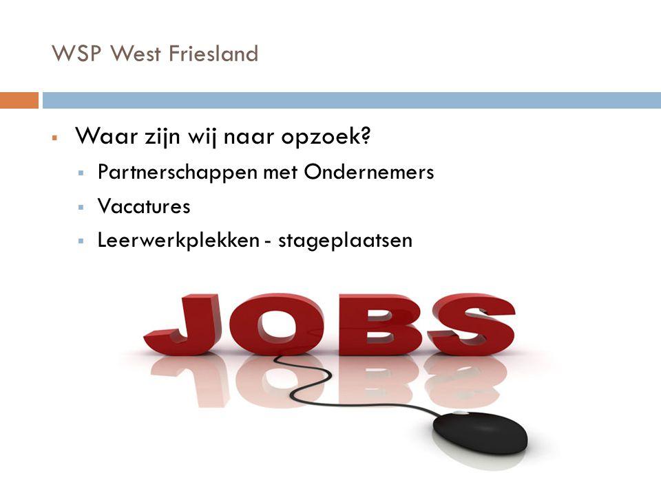 WSP West Friesland  Waar zijn wij naar opzoek.