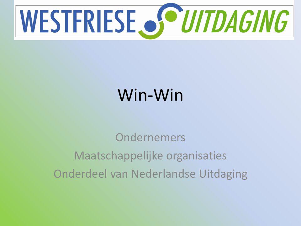 Win-Win Ondernemers Maatschappelijke organisaties Onderdeel van Nederlandse Uitdaging