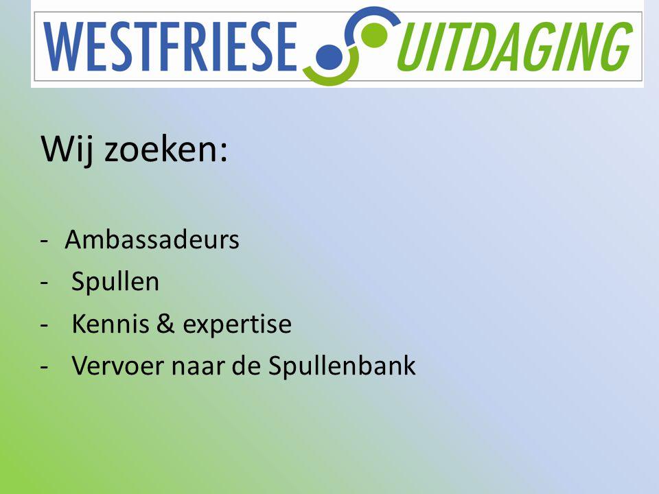 Wij zoeken: -Ambassadeurs - Spullen - Kennis & expertise - Vervoer naar de Spullenbank