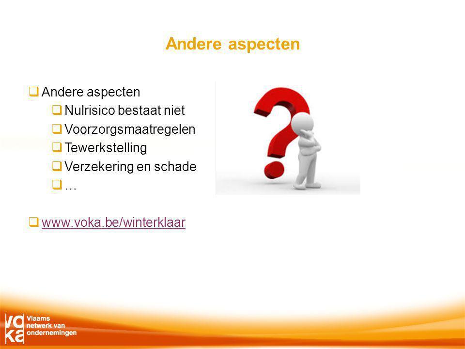 Andere aspecten  Andere aspecten  Nulrisico bestaat niet  Voorzorgsmaatregelen  Tewerkstelling  Verzekering en schade  …  www.voka.be/winterklaar www.voka.be/winterklaar
