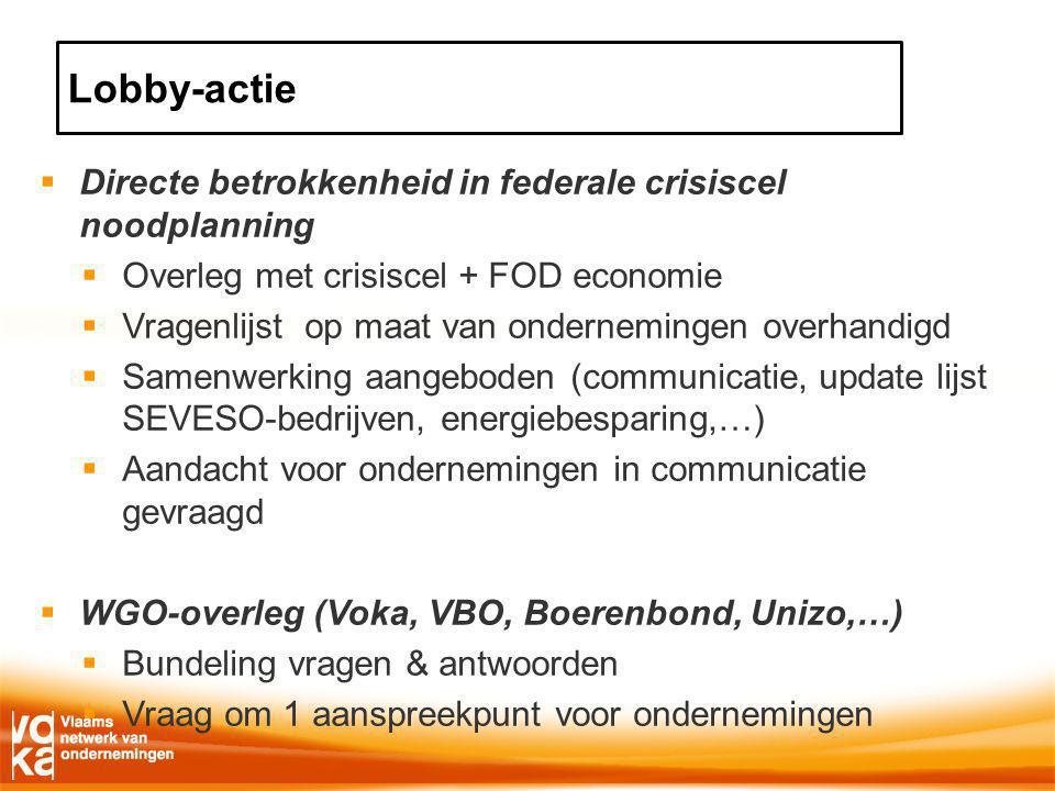  Directe betrokkenheid in federale crisiscel noodplanning  Overleg met crisiscel + FOD economie  Vragenlijst op maat van ondernemingen overhandigd