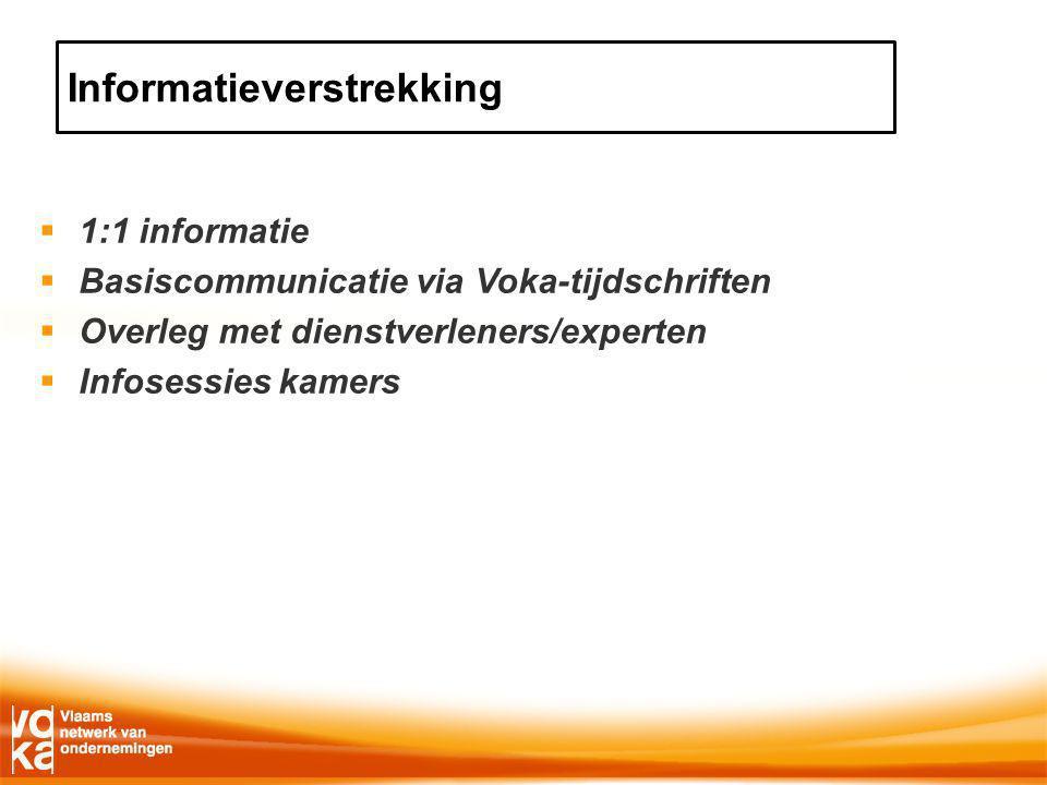  1:1 informatie  Basiscommunicatie via Voka-tijdschriften  Overleg met dienstverleners/experten  Infosessies kamers Informatieverstrekking