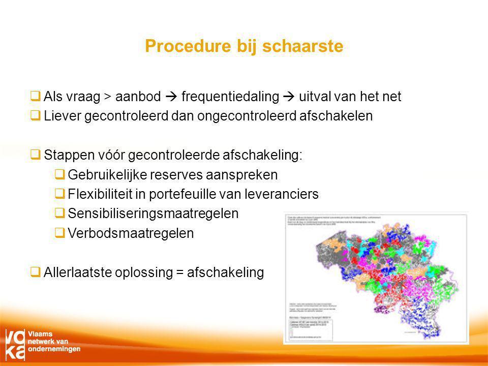Procedure bij schaarste  Als vraag > aanbod  frequentiedaling  uitval van het net  Liever gecontroleerd dan ongecontroleerd afschakelen  Stappen