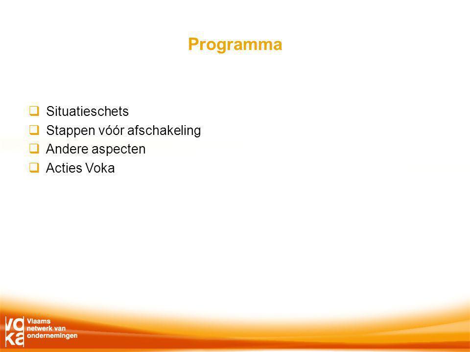 Programma  Situatieschets  Stappen vóór afschakeling  Andere aspecten  Acties Voka