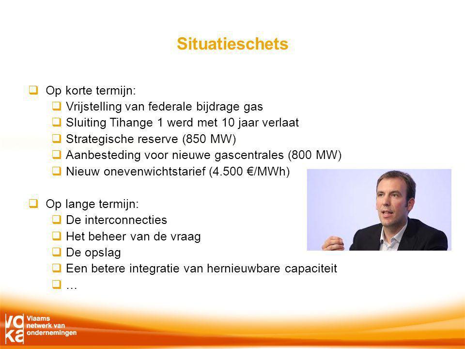 Situatieschets  Op korte termijn:  Vrijstelling van federale bijdrage gas  Sluiting Tihange 1 werd met 10 jaar verlaat  Strategische reserve (850 MW)  Aanbesteding voor nieuwe gascentrales (800 MW)  Nieuw onevenwichtstarief (4.500 €/MWh)  Op lange termijn:  De interconnecties  Het beheer van de vraag  De opslag  Een betere integratie van hernieuwbare capaciteit  …