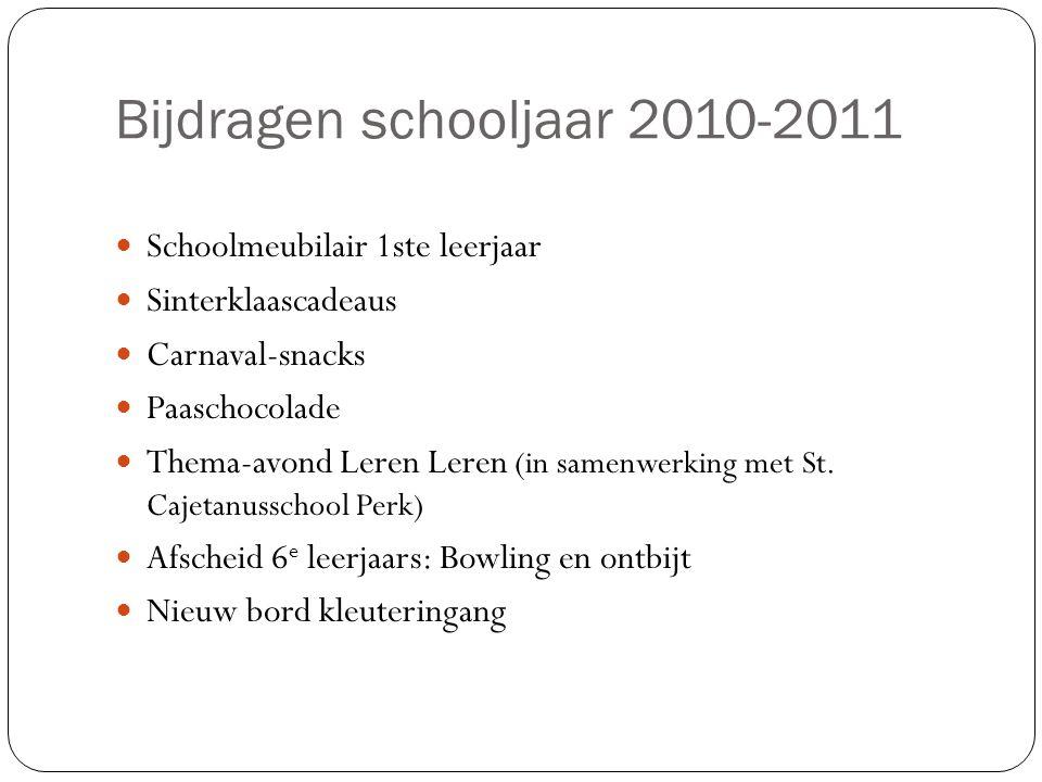 Bijdragen schooljaar 2010-2011 Schoolmeubilair 1ste leerjaar Sinterklaascadeaus Carnaval-snacks Paaschocolade Thema-avond Leren Leren (in samenwerking