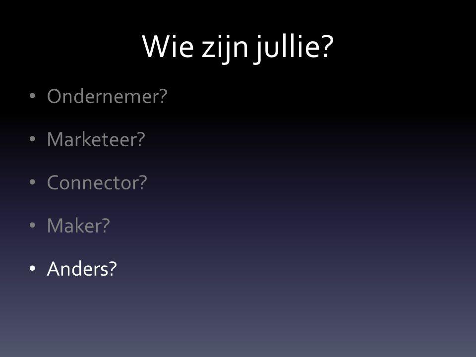 Wie zijn jullie Ondernemer Marketeer Connector Maker Anders
