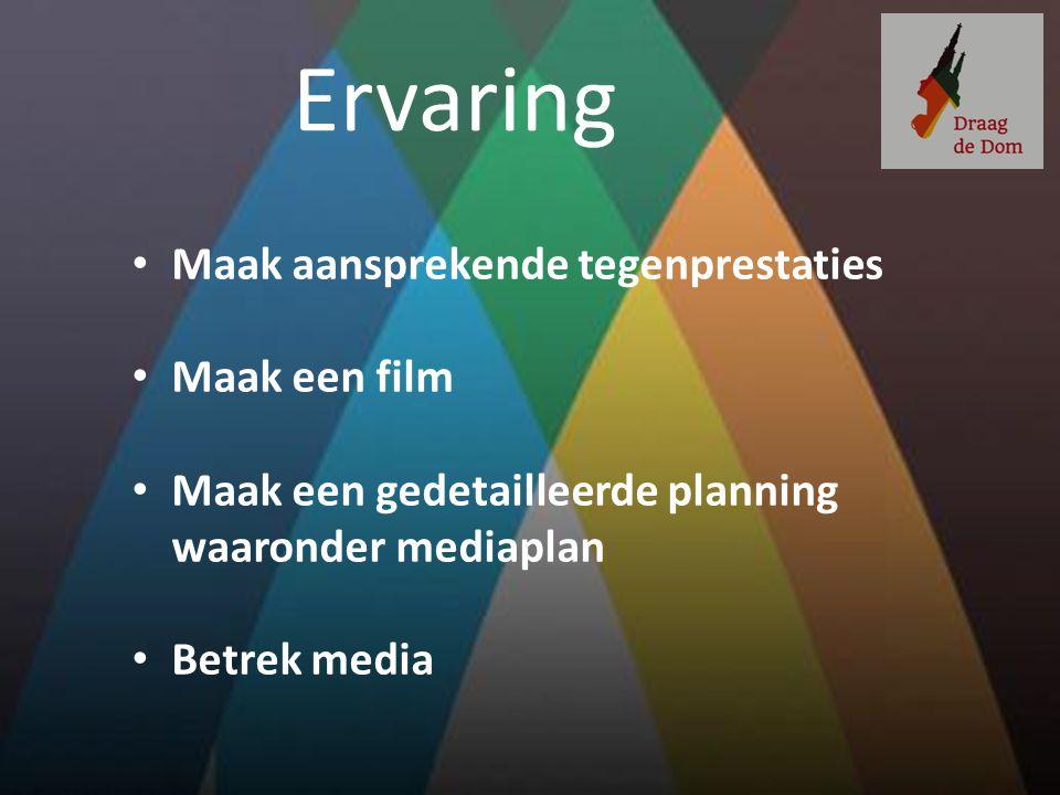 Ervaring Maak aansprekende tegenprestaties Maak een film Maak een gedetailleerde planning waaronder mediaplan Betrek media