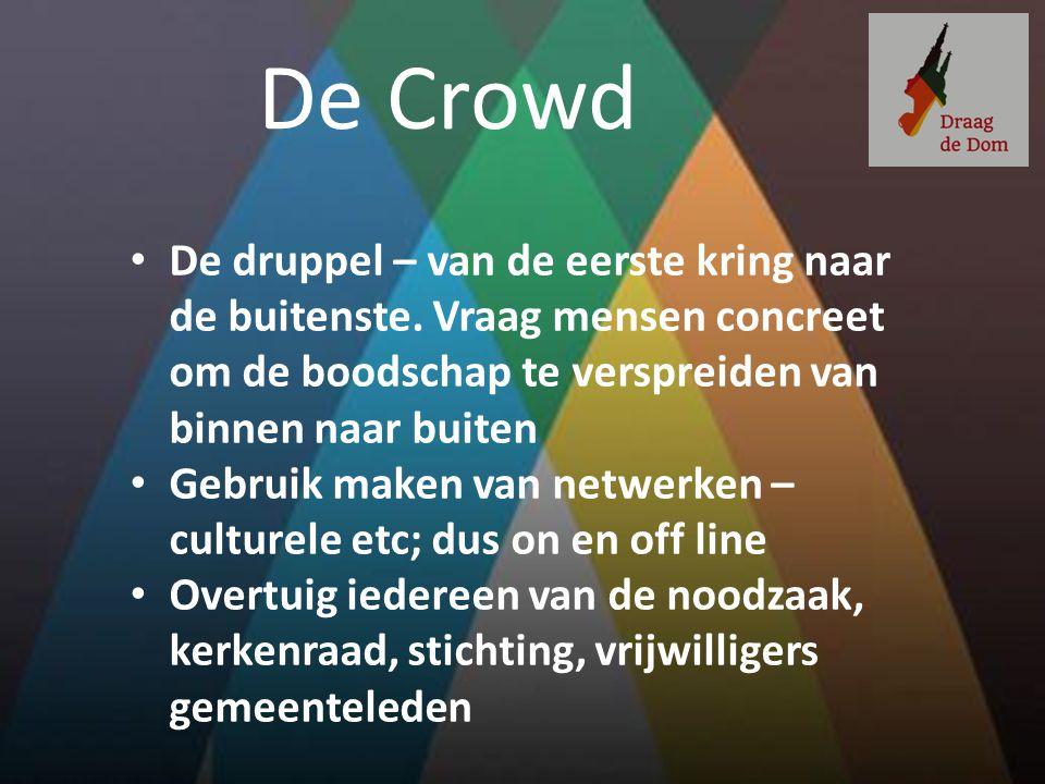 De Crowd De druppel – van de eerste kring naar de buitenste. Vraag mensen concreet om de boodschap te verspreiden van binnen naar buiten Gebruik maken