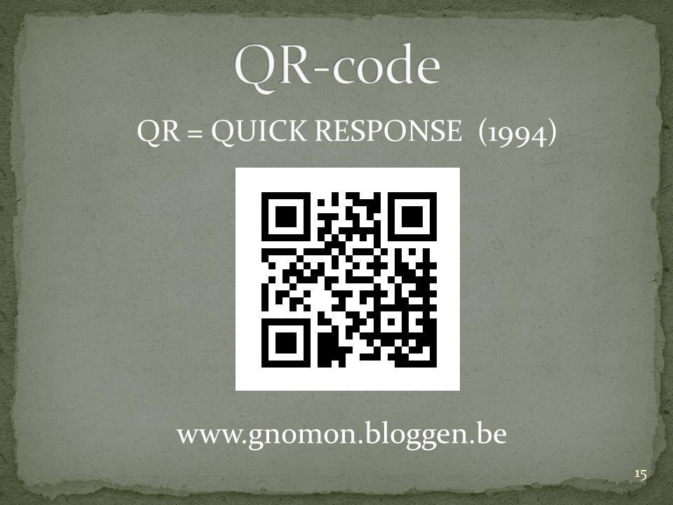 QR = QUICK RESPONSE (1994) www.gnomon.bloggen.be 15