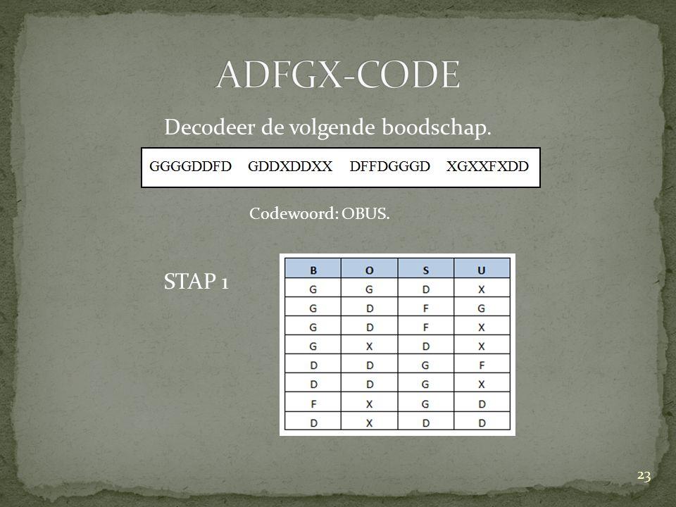 Decodeer de volgende boodschap. STAP 1 23 Codewoord: OBUS.