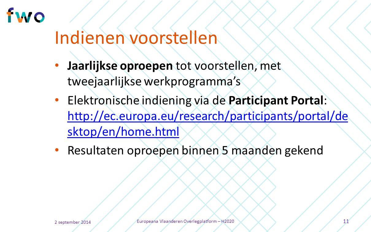 Indienen voorstellen Jaarlijkse oproepen tot voorstellen, met tweejaarlijkse werkprogramma's Elektronische indiening via de Participant Portal: http://ec.europa.eu/research/participants/portal/de sktop/en/home.html http://ec.europa.eu/research/participants/portal/de sktop/en/home.html Resultaten oproepen binnen 5 maanden gekend 2 september 2014 Europeana Vlaanderen Overlegplatform – H2020 11