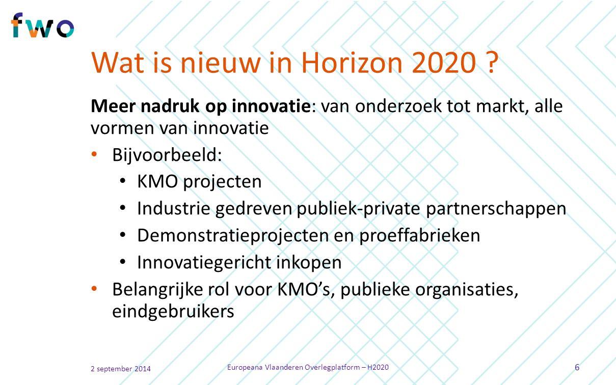 Wat is nieuw in Horizon 2020 .