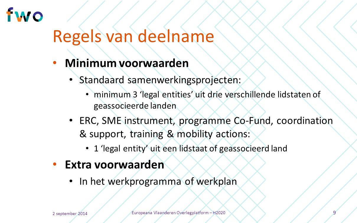 Regels van deelname Minimum voorwaarden Standaard samenwerkingsprojecten: minimum 3 'legal entities' uit drie verschillende lidstaten of geassocieerde landen ERC, SME instrument, programme Co-Fund, coordination & support, training & mobility actions: 1 'legal entity' uit een lidstaat of geassocieerd land Extra voorwaarden In het werkprogramma of werkplan 2 september 2014 Europeana Vlaanderen Overlegplatform – H2020 9