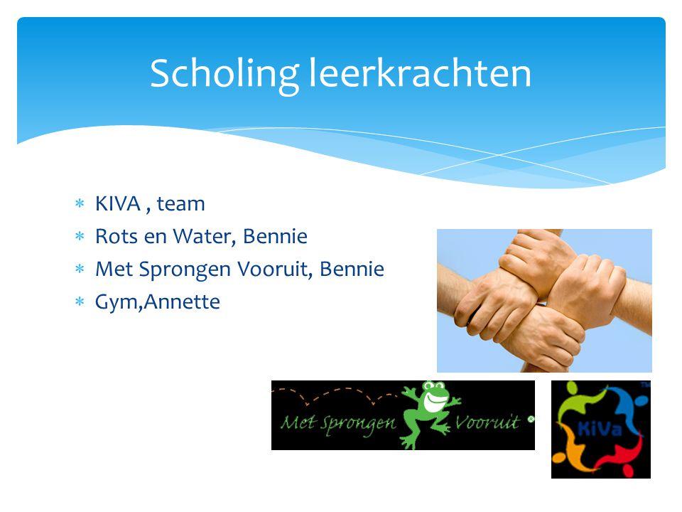  KIVA, team  Rots en Water, Bennie  Met Sprongen Vooruit, Bennie  Gym,Annette Scholing leerkrachten
