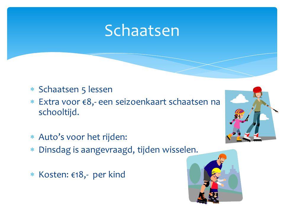  Schaatsen 5 lessen  Extra voor €8,- een seizoenkaart schaatsen na schooltijd.