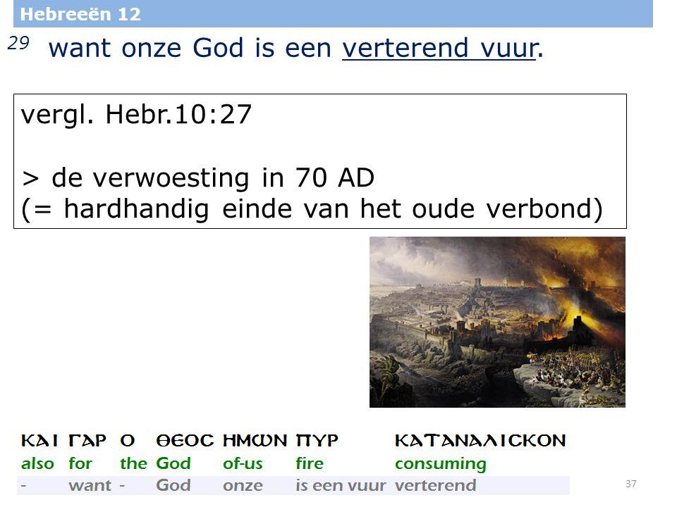 37 Hebreeën 12 29 want onze God is een verterend vuur.
