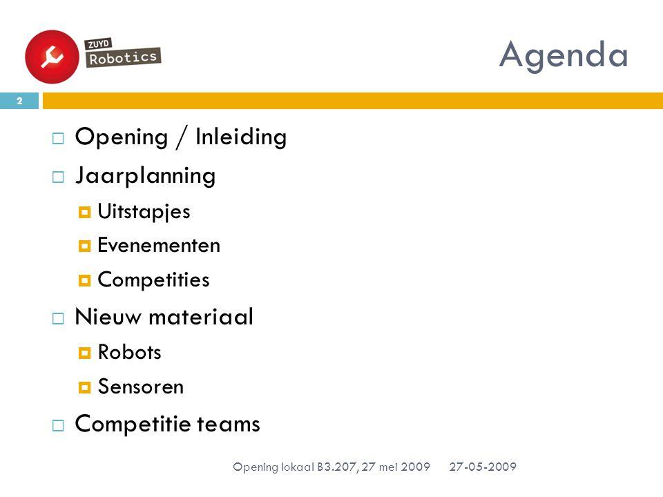 Agenda  Opening / Inleiding  Jaarplanning  Uitstapjes  Evenementen  Competities  Nieuw materiaal  Robots  Sensoren  Competitie teams 27-05-2009 2 Opening lokaal B3.207, 27 mei 2009
